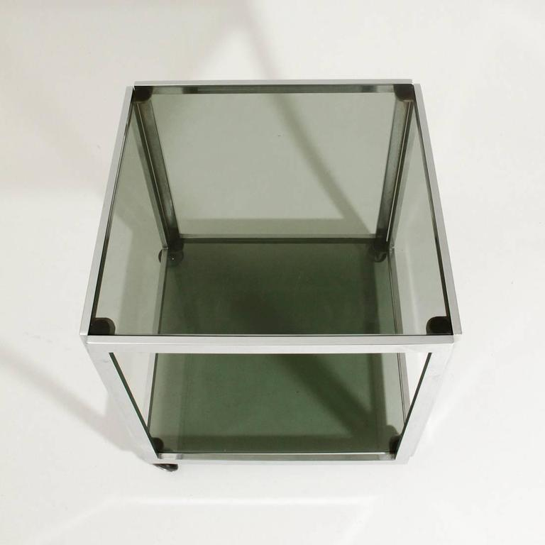 Late 20th Century Chromed Side Table with Wells For Sale