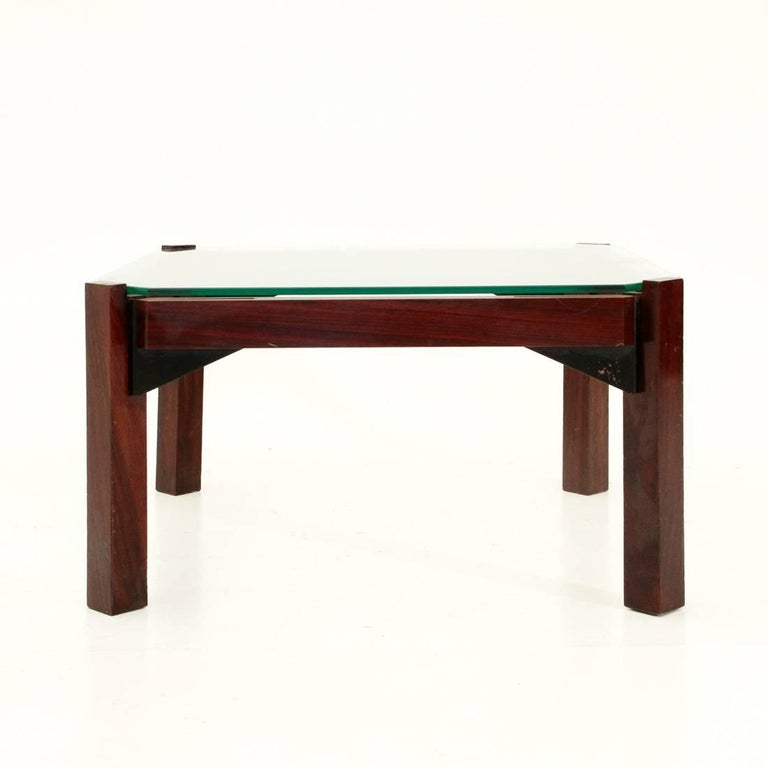 Italian Rosewood And Glass Coffee Table For Sale At 1stdibs