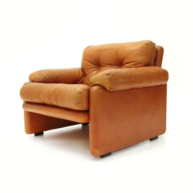 Mid-20th Century Brown Leather Coronado Armchair by Tobia Scarpa for B&B, 1960s For Sale