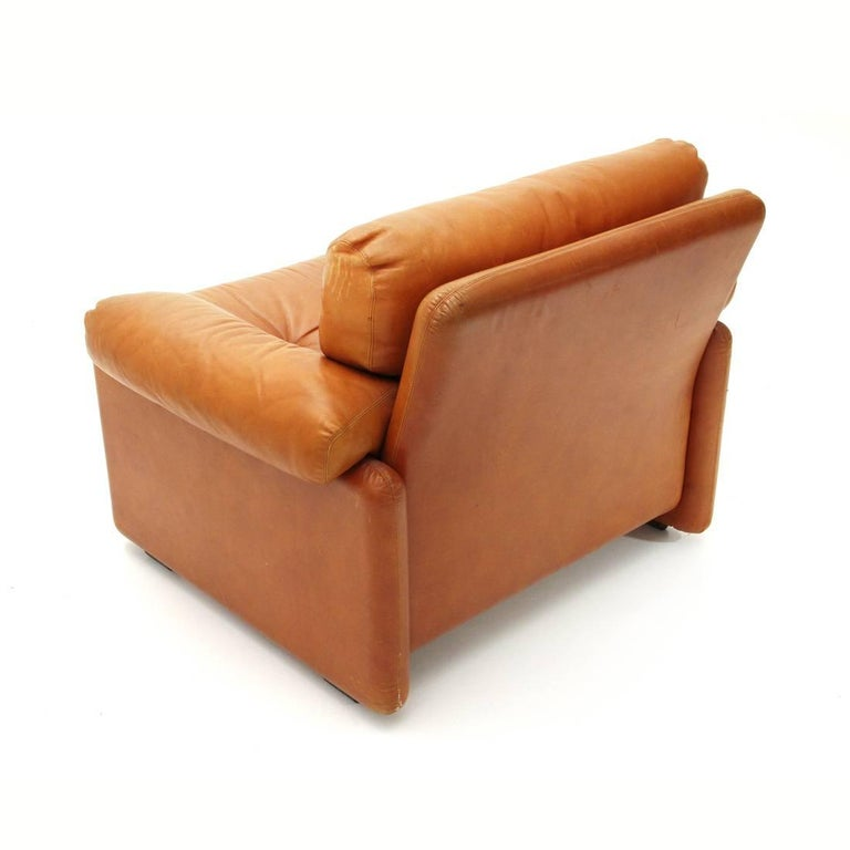 Metal Brown Leather Coronado Armchair by Tobia Scarpa for B&B, 1960s For Sale