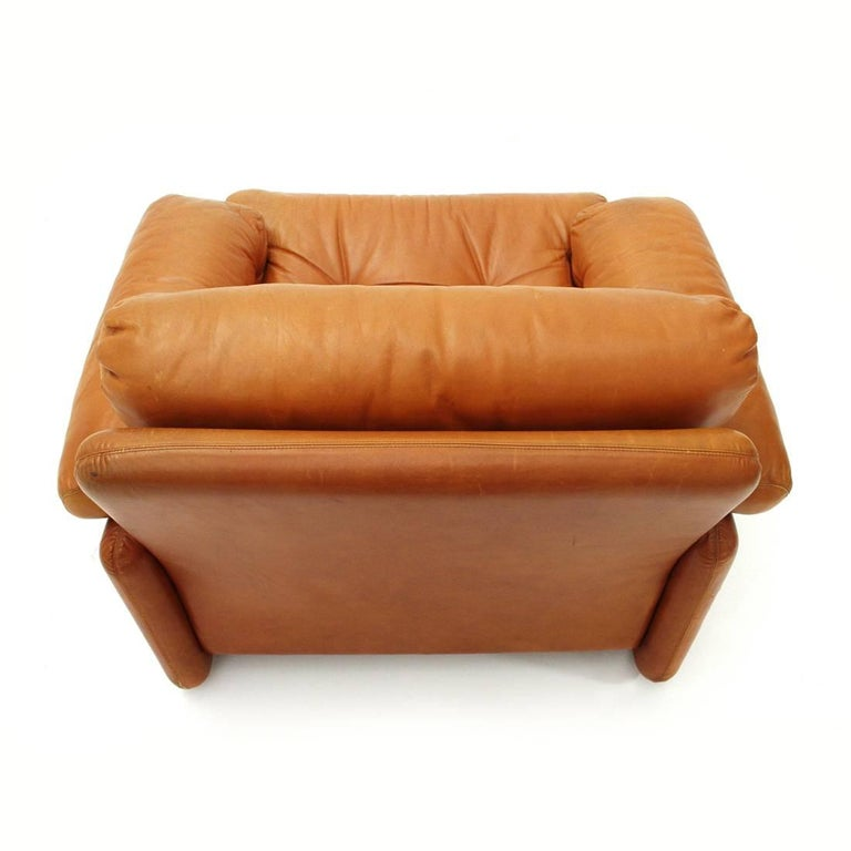 Brown Leather Coronado Armchair by Tobia Scarpa for B&B, 1960s For Sale 1