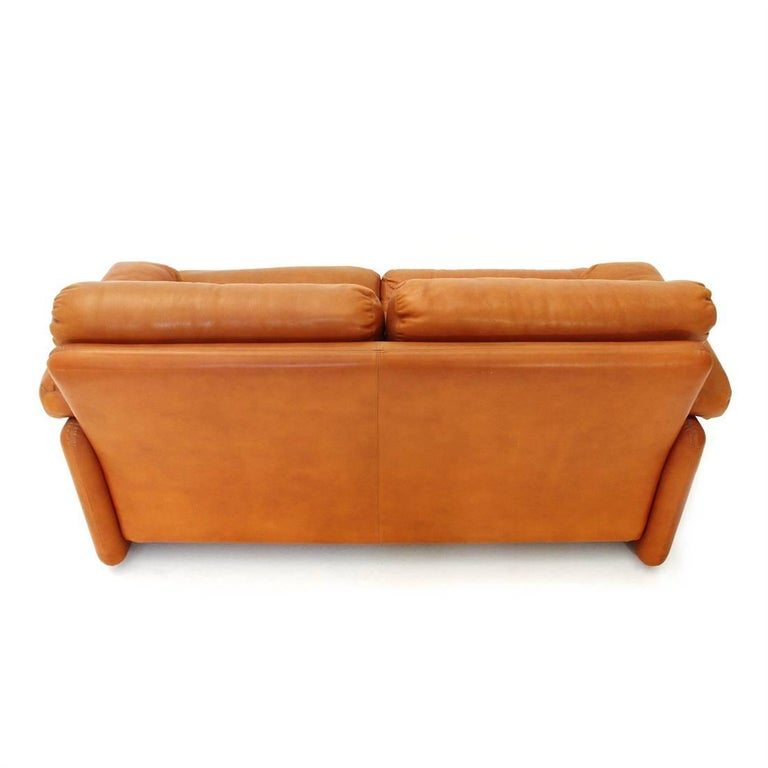 Mid-20th Century Brown Leather Coronado Two-Seat Sofa by Tobia Scarpa for B&B, 1960s For Sale