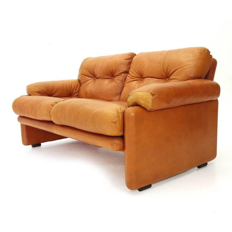 Brown Leather Coronado Two-Seat Sofa by Tobia Scarpa for B&B, 1960s For Sale 3