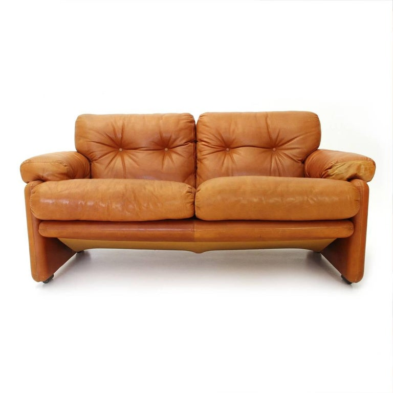 Brown Leather Coronado Two-Seat Sofa by Tobia Scarpa for B&B, 1960s For Sale 5