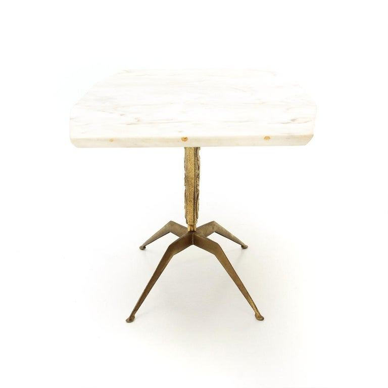 Italian Coffee Table with Marble Top and Brass Base, 1950s In Good Condition For Sale In Savona, IT