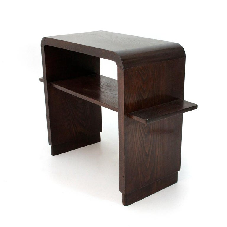 Wood Italian Modernist Console with Shelf , 1940s For Sale