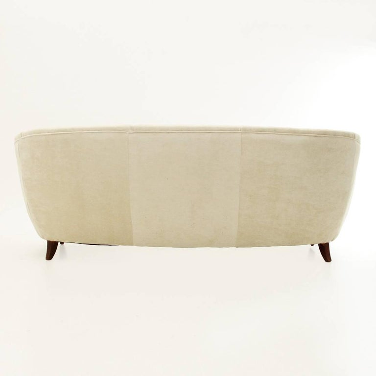 Fabric Italian Three-Seat White Velvet Sofa, 1950s For Sale