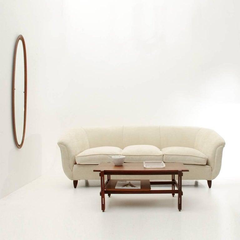 Italian Three-Seat White Velvet Sofa, 1950s For Sale 5