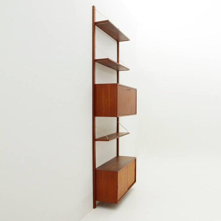 Mid-Century Modern Italian Teak and Brass Wall Unit, 1950s For Sale