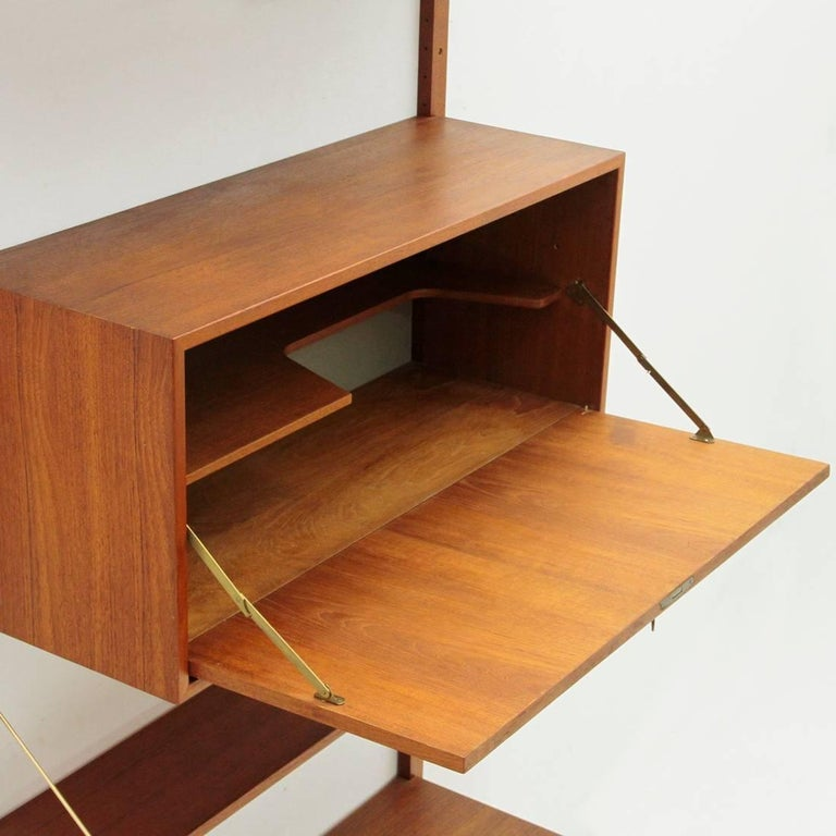 Italian Teak and Brass Wall Unit, 1950s For Sale 2