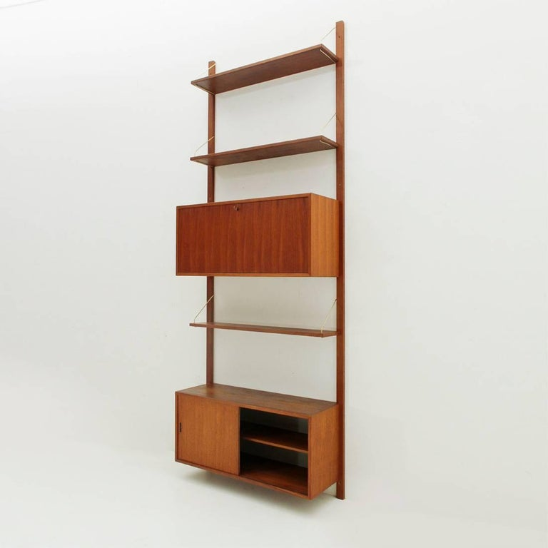 Mid-20th Century Italian Teak and Brass Wall Unit, 1950s For Sale