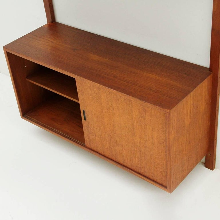Italian Teak and Brass Wall Unit, 1950s For Sale 6