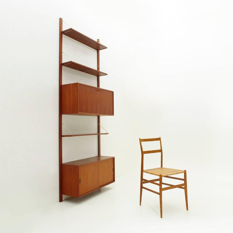 Italian Teak and Brass Wall Unit, 1950s For Sale 7