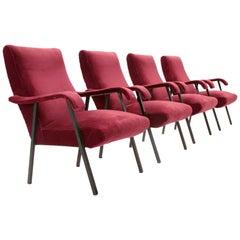 Italian Velvet Armchair, 1950s, Set of Four