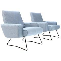 Italian Midcentury Azure Fabric Armchair, 1960s, Set of 2