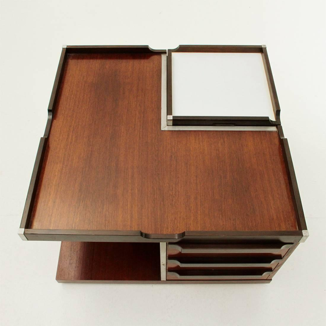 Coffee Table Produced By Fiarm In The 1970s. Square Table With Four  Compartments: One