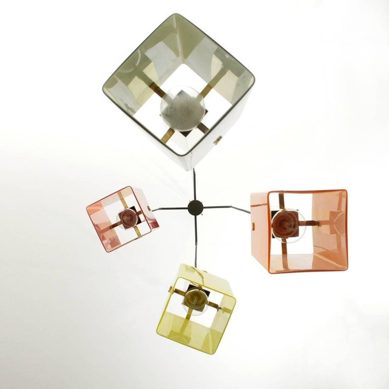 Mid-Century Modern Four Pendants Chandelier in Brass and Glass by Stilnovo, 1950s For Sale