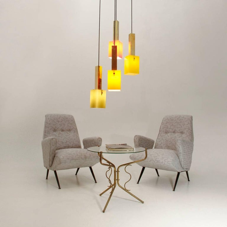 Four Pendants Chandelier in Brass and Glass by Stilnovo, 1950s For Sale 3