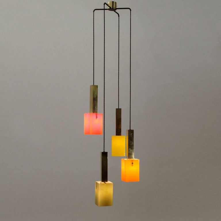 Italian Four Pendants Chandelier in Brass and Glass by Stilnovo, 1950s For Sale