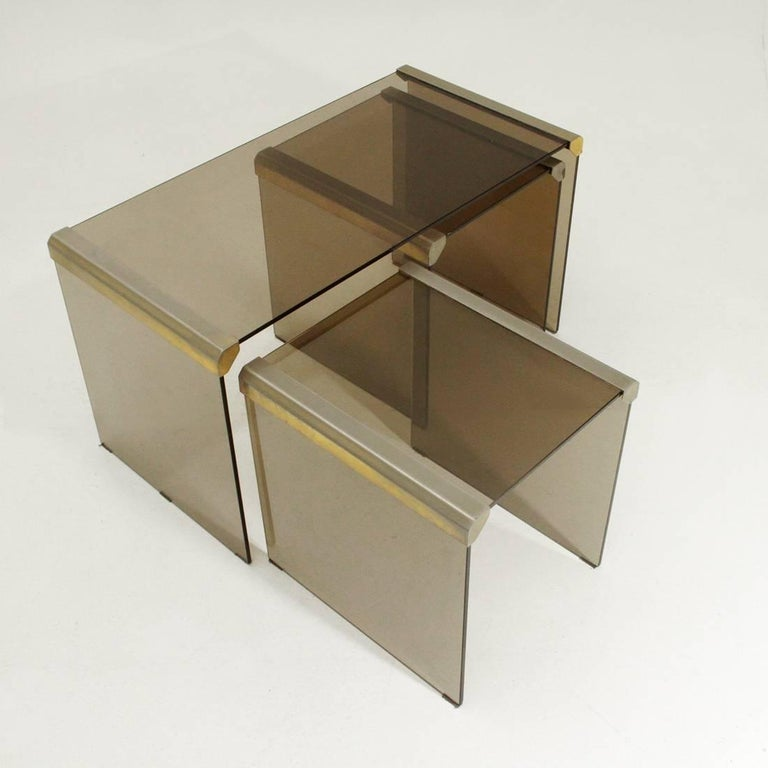 T35R Brass and Glass Nesting Table by Pierangelo Gallotti for ...