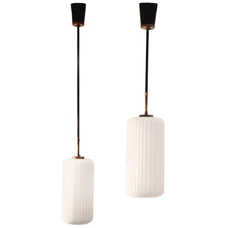Set of Two 1950s Italian Pendant Lamp in Brass and Opaline Glass