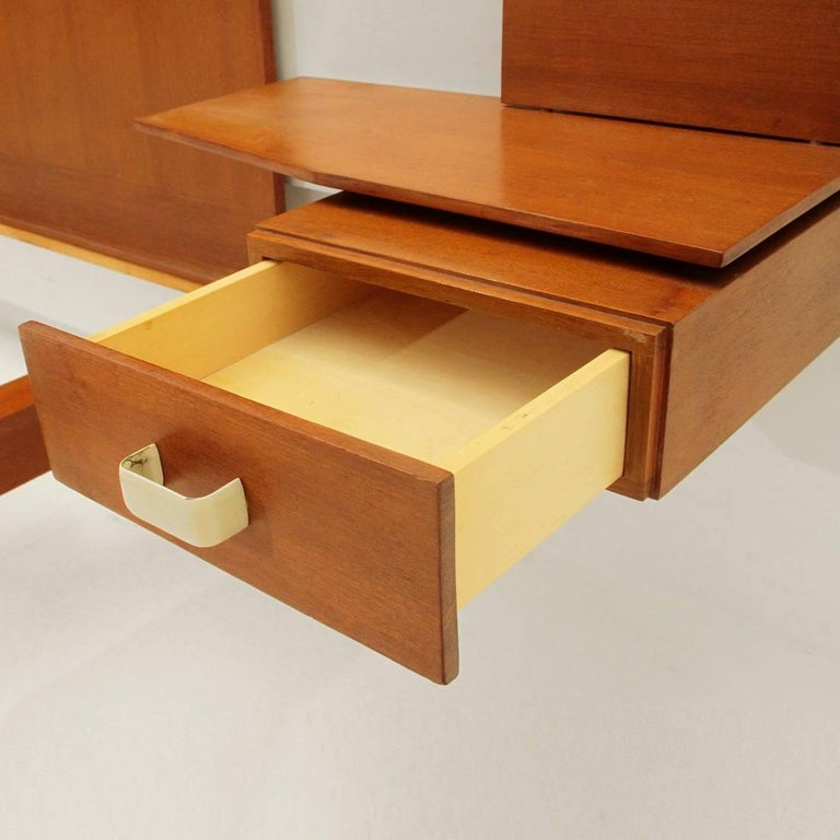 Brass Modernist Bed with Nightstand in Teak by Galleria Mobili d'Arte of Cantù, 1950s For Sale