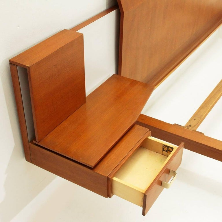 Mid-20th Century Modernist Bed with Nightstand in Teak by Galleria Mobili d'Arte of Cantù, 1950s For Sale