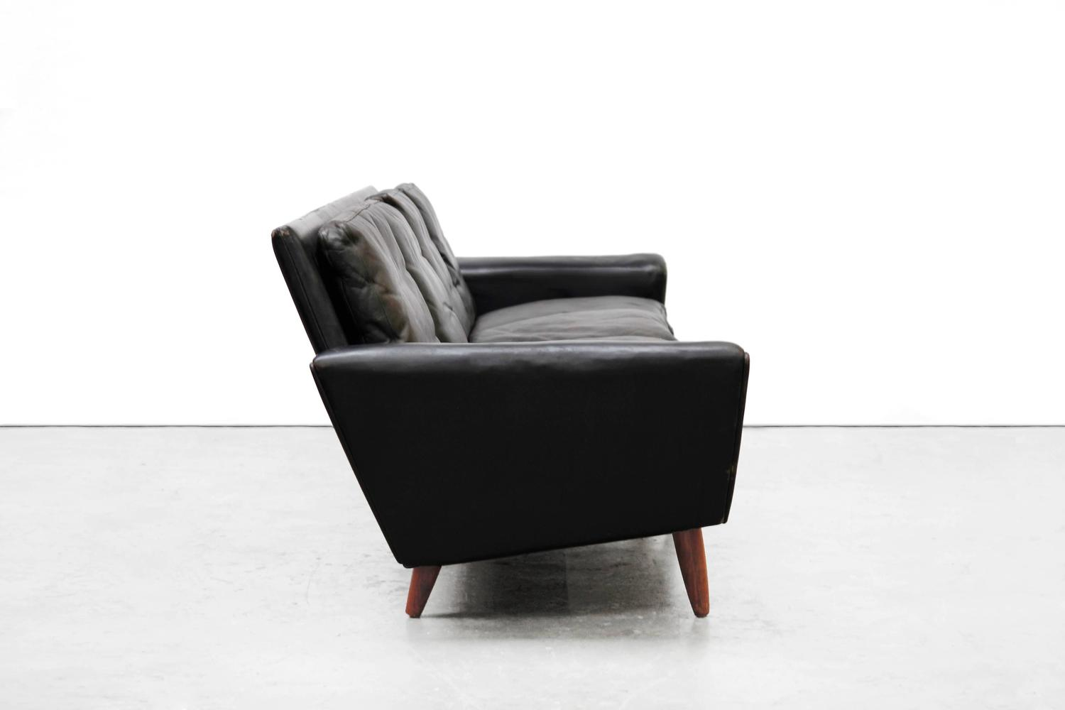 Danish Design Georg Thams Four Seat Sofa In Black Leather