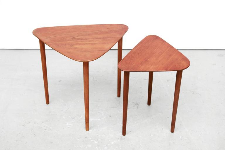 Scandinavian Design Side Tables: Set Of Two Triangular Scandinavian Design Side Tables