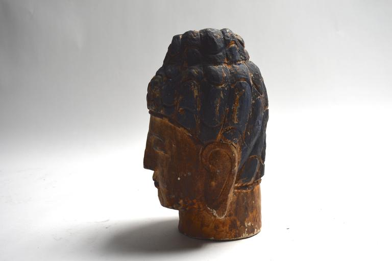 Mid-20th Century Massive Polychrome Buddha Head For Sale