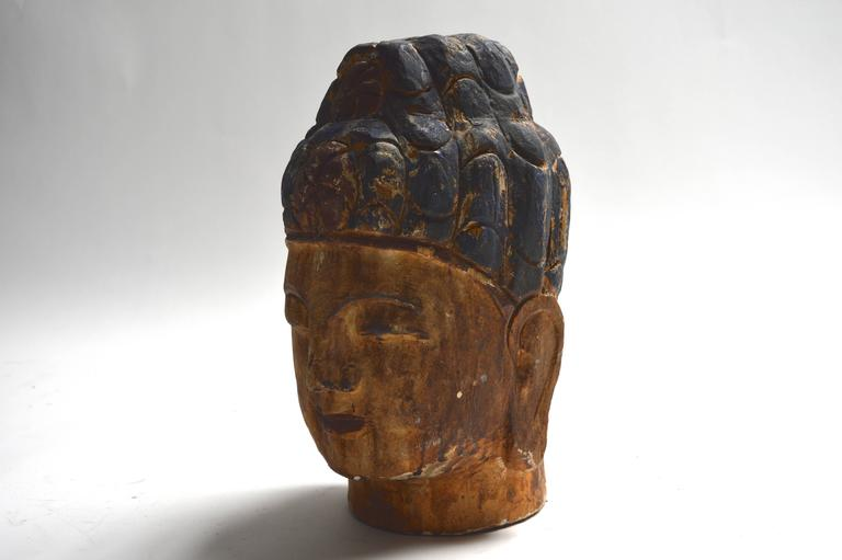 Wood Massive Polychrome Buddha Head For Sale