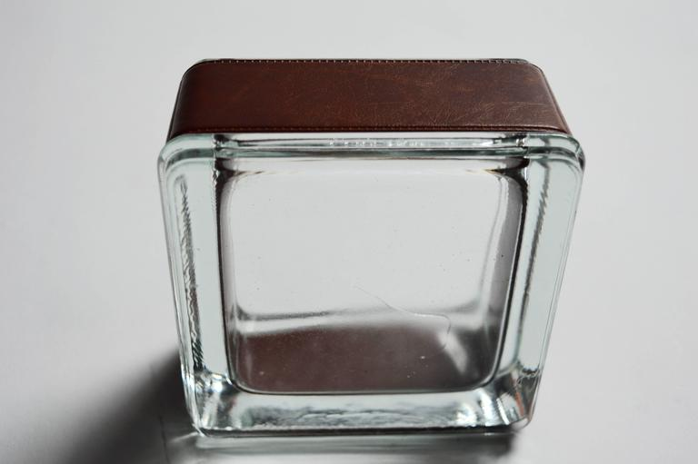 Jacques Adnet style Leather and Glass Ashtray / Catchall In Excellent Condition For Sale In Los Angeles, CA