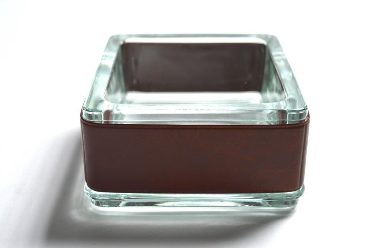 Handsome German leather and glass catchall. Perfect for keys. Great for the home or office. Excellent vintage condition.