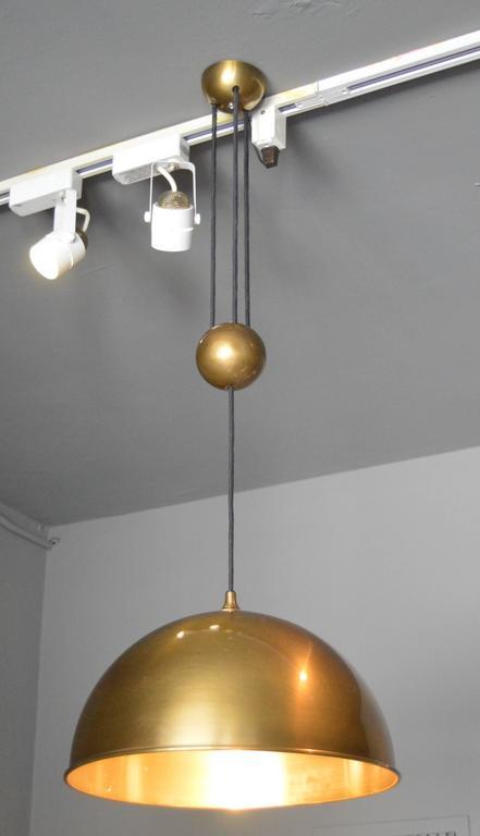 Brass Florian Schulz Dome Counter Balance Pendant For Sale