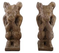 Pair of Cast Stone Winged Gargoyles