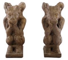 Pair of Cast Stone Winged Gargoyles