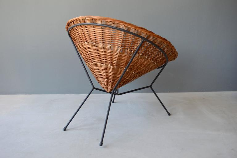 French Rattan and Iron Chair For Sale