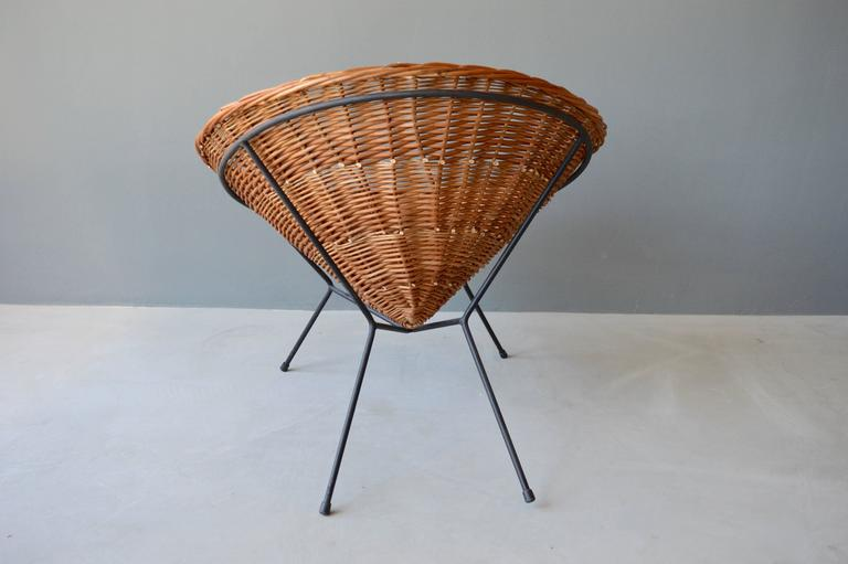 Late 20th Century Rattan and Iron Chair For Sale