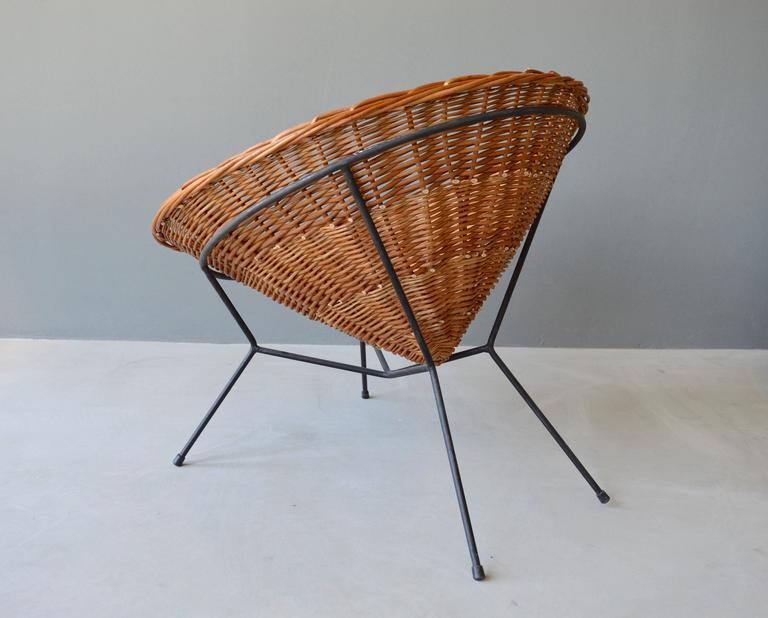 Rattan and Iron Chair For Sale 1