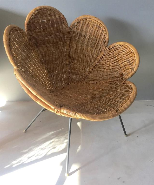 Stunning Rattan And Iron Chair In The Shape Of A Flower Excellent Vintage Condition