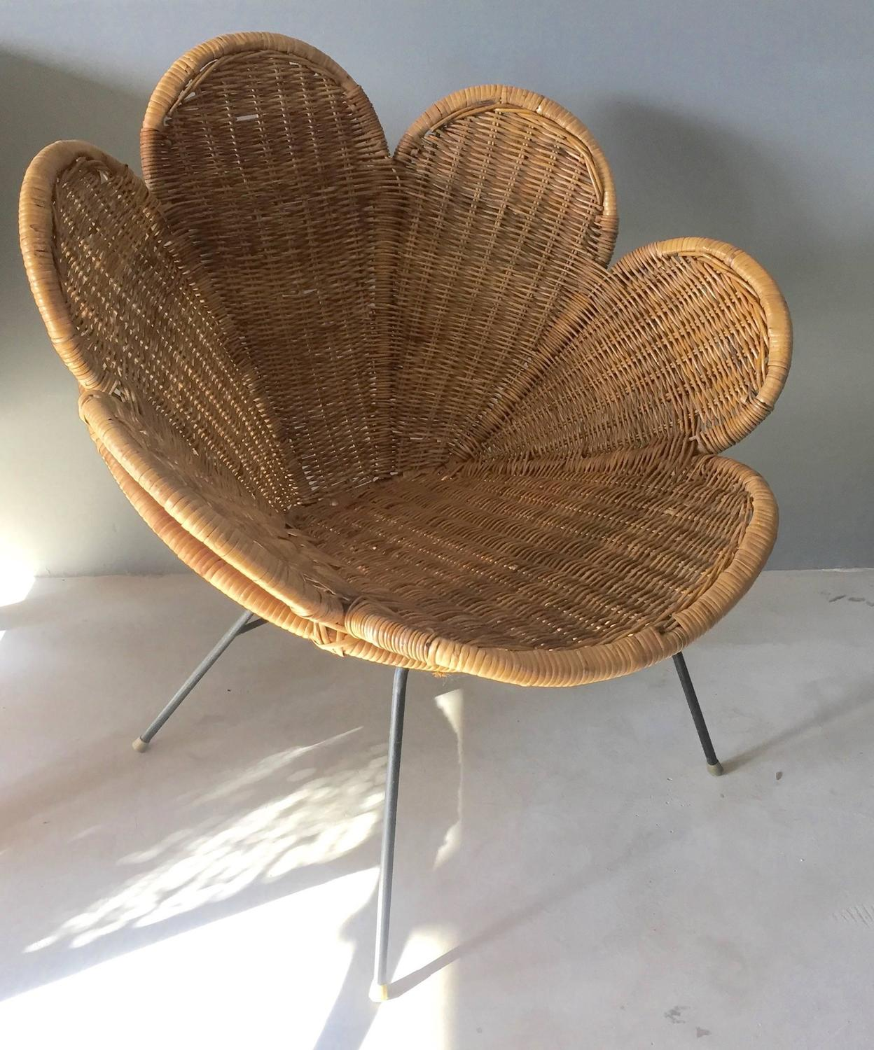 Rattan And Iron Flower Chair For Sale At 1stdibs