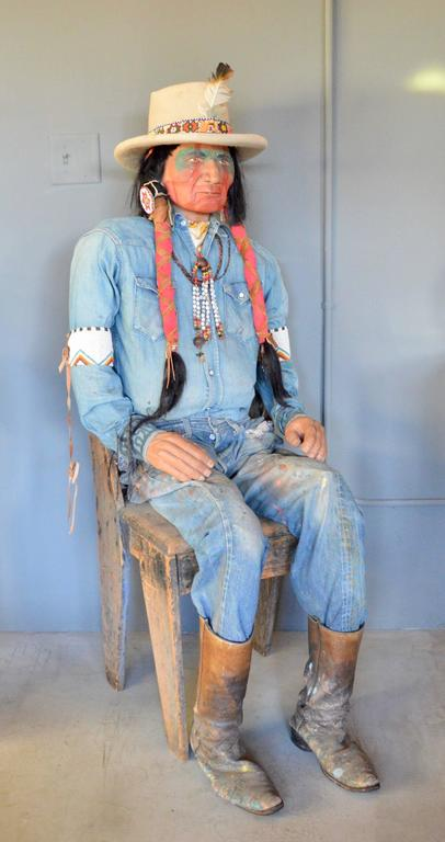 Life Sized Native American Wooden Sculpture At 1stdibs
