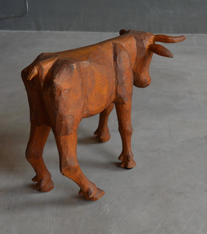 Late 20th Century Primitive Hand-Carved Folk Art Bull For Sale