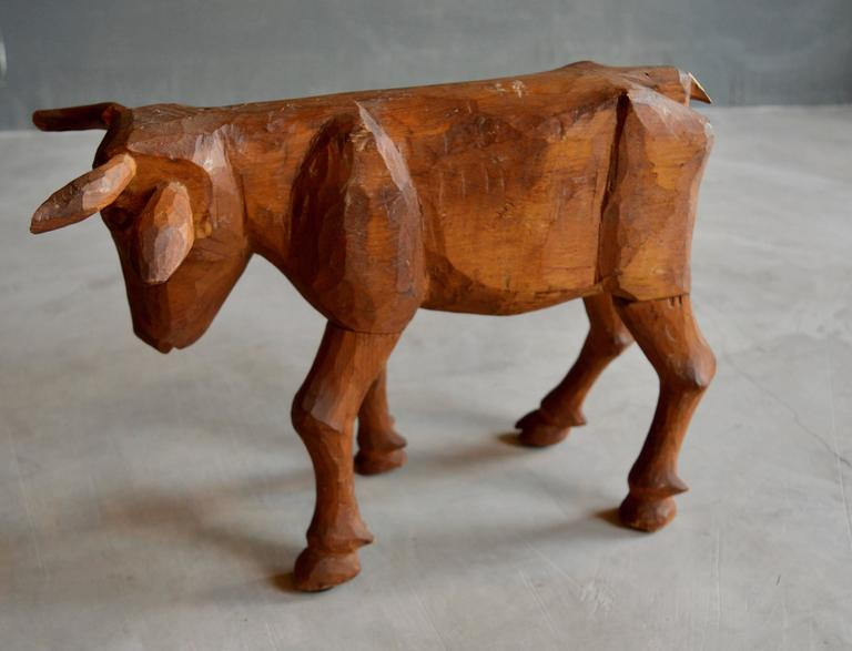 American Primitive Hand-Carved Folk Art Bull For Sale