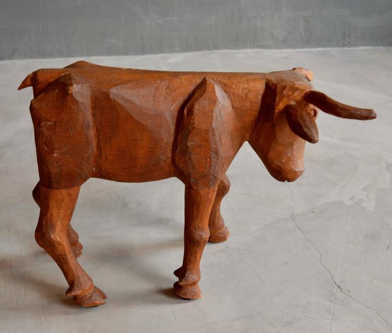 Primitive Hand-Carved Folk Art Bull For Sale 1