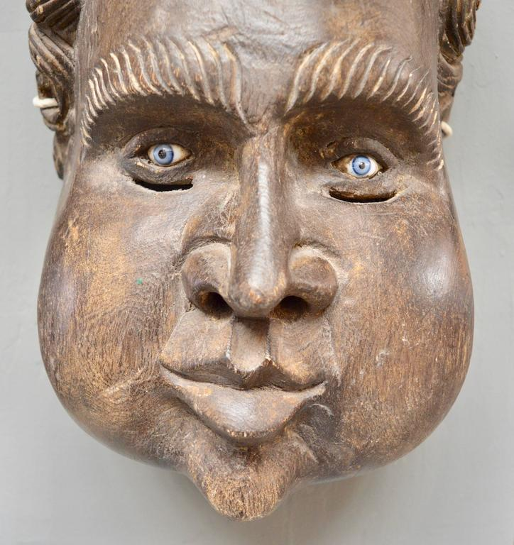 Sculptural French Wood Cherub Mask Carving In Excellent Condition For Sale In Los Angeles, CA