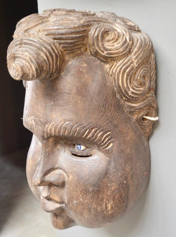Mid-20th Century Sculptural French Wood Cherub Mask Carving For Sale