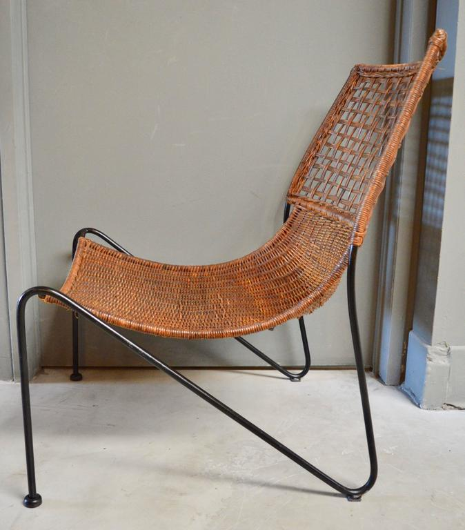 Contemporary Sculptural Iron and Wicker Chairs in the style of Tempestini For Sale
