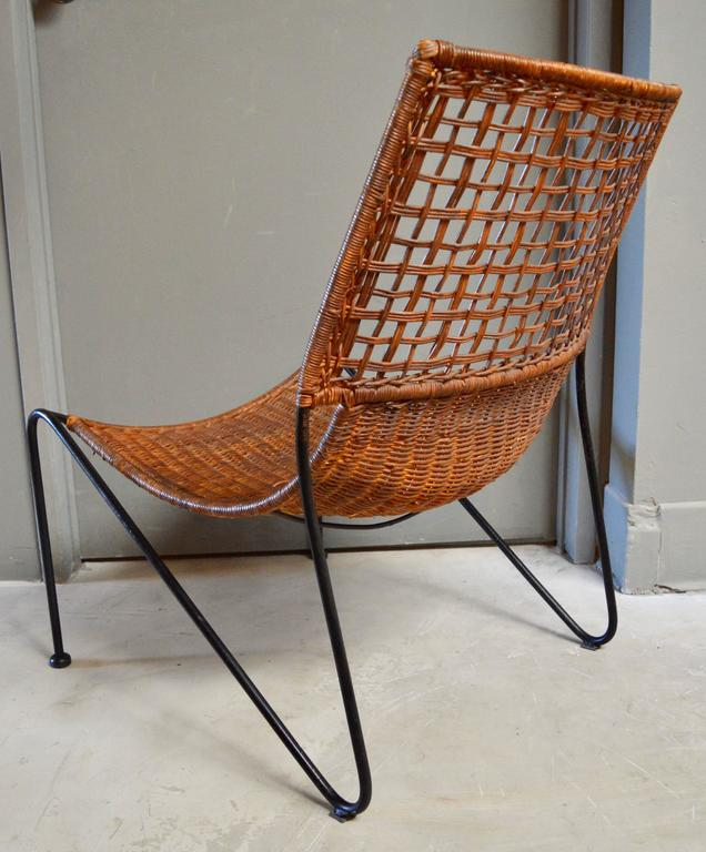 North American Sculptural Iron and Wicker Chairs in the style of Tempestini For Sale