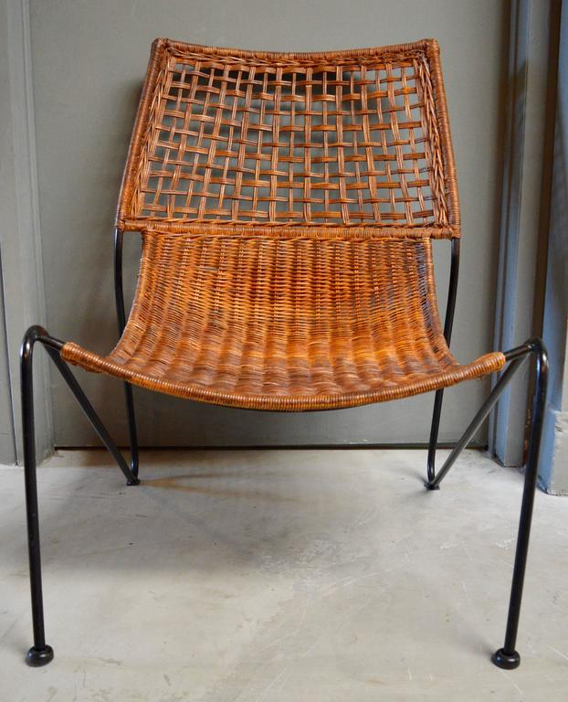 Sculptural Iron and Wicker Chairs in the style of Tempestini For Sale 1